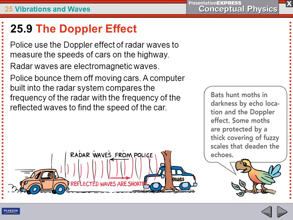 25.9 The Doppler Effect Police use the Doppler effect of radar waves to measure the speeds of cars on the highway.
