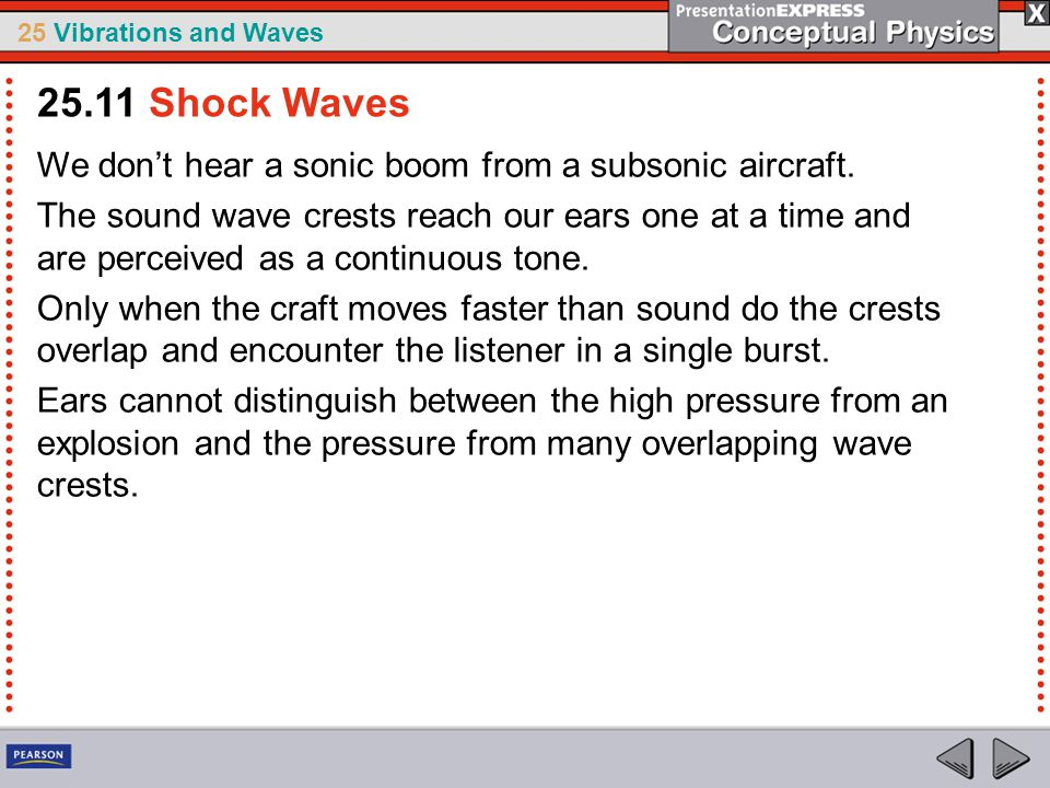 25.11 Shock Waves We don't hear a sonic boom from a subsonic aircraft.