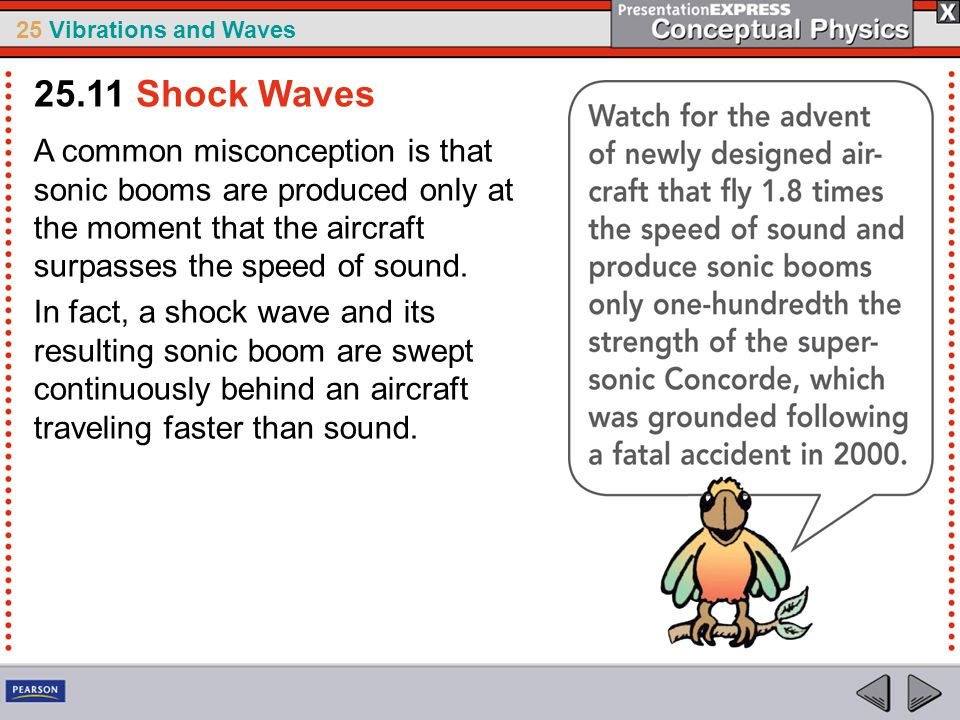 25.11 Shock Waves A common misconception is that sonic booms are produced only at the moment that the aircraft surpasses the speed of sound.