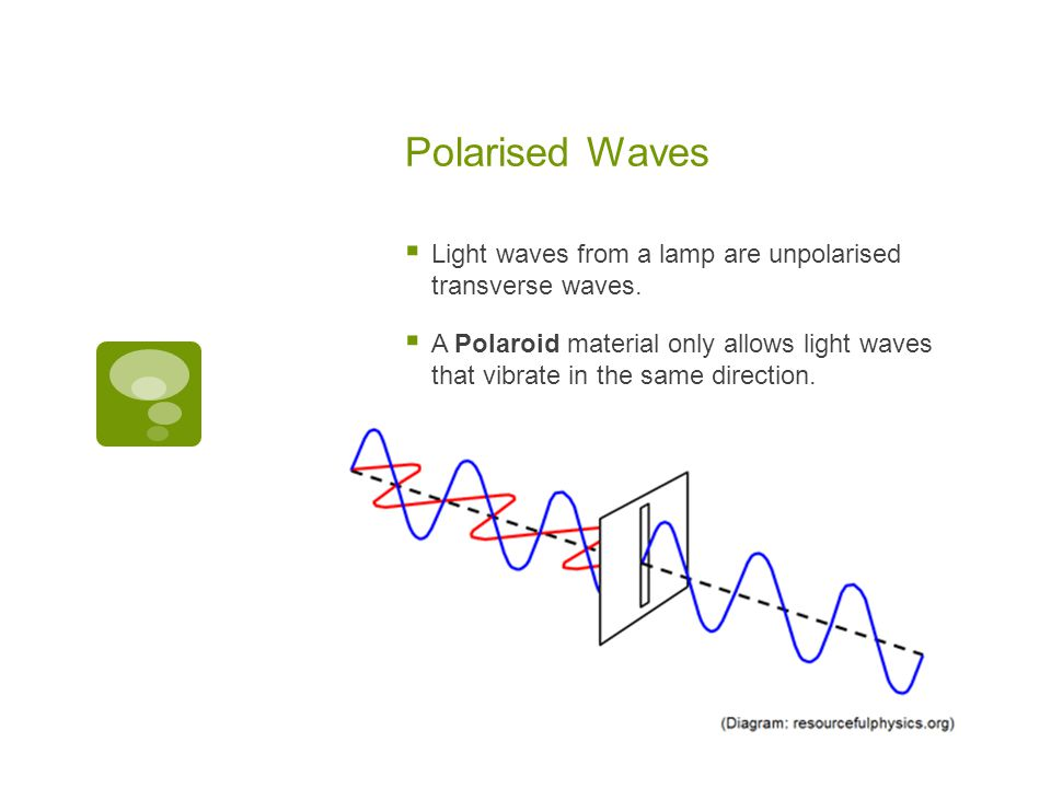 Polarised Waves Light waves from a lamp are unpolarised transverse waves.