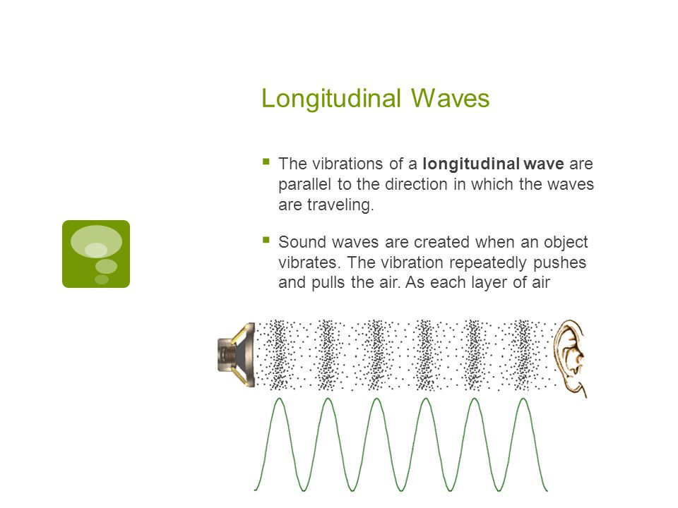 Longitudinal Waves The vibrations of a longitudinal wave are parallel to the direction in which the waves are traveling.