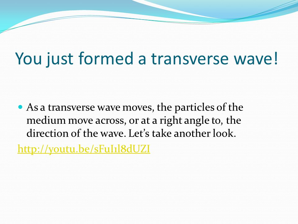 You just formed a transverse wave!