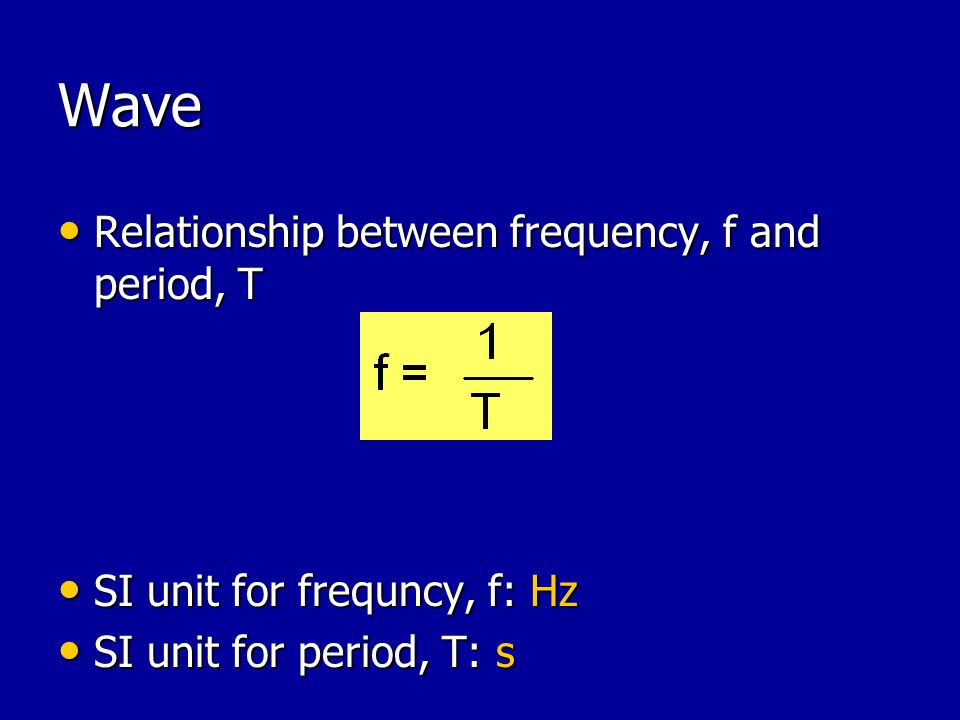 Wave Relationship between frequency, f and period, T