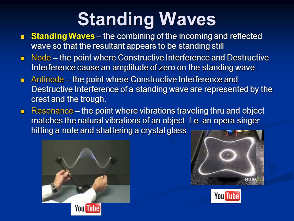 Standing Waves Standing Waves – the combining of the incoming and reflected wave so that the resultant appears to be standing still.