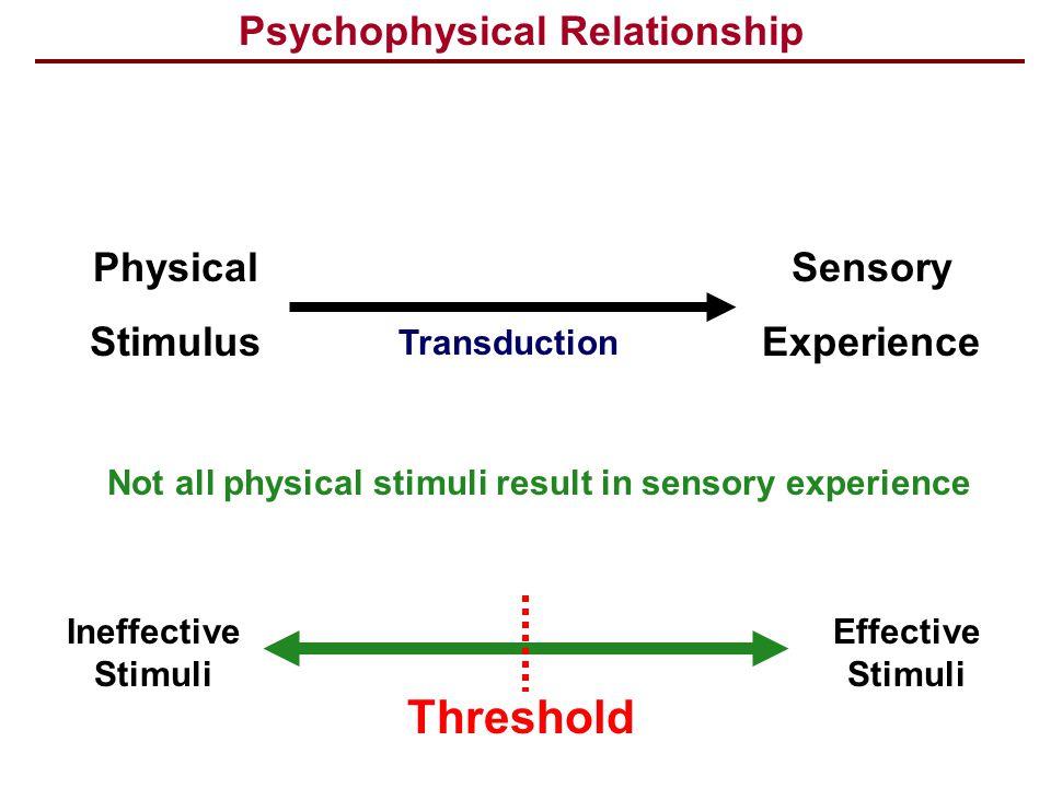 Threshold Psychophysical Relationship Physical Stimulus Sensory