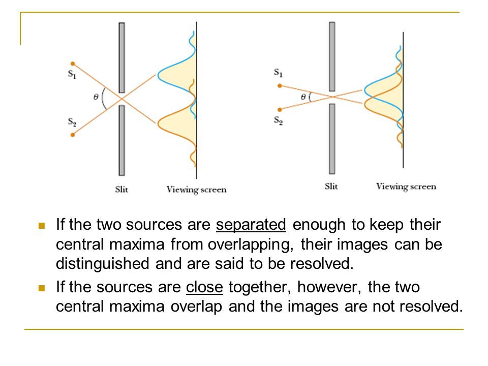 If the two sources are separated enough to keep their central maxima from overlapping, their images can be distinguished and are said to be resolved.