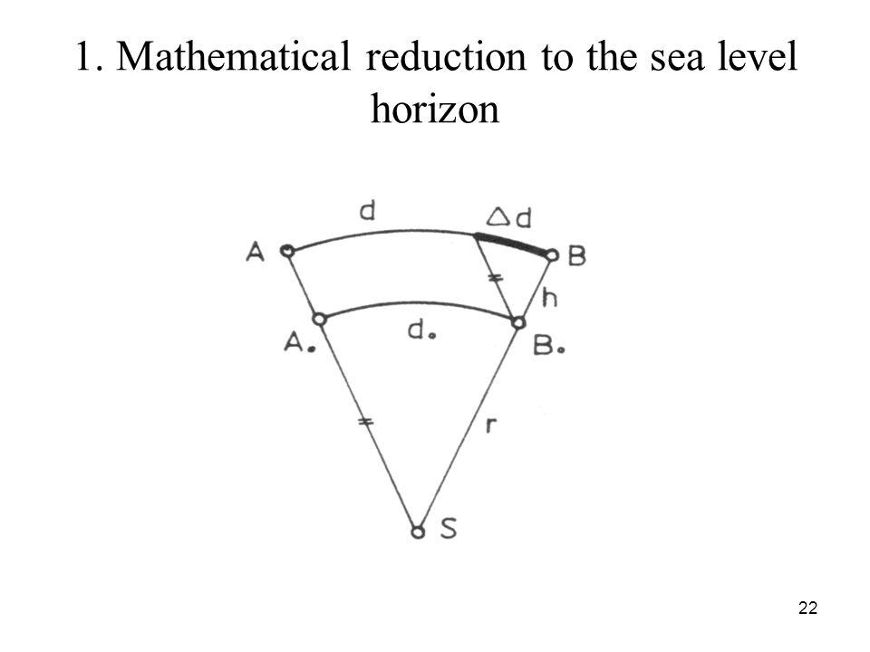 1. Mathematical reduction to the sea level horizon