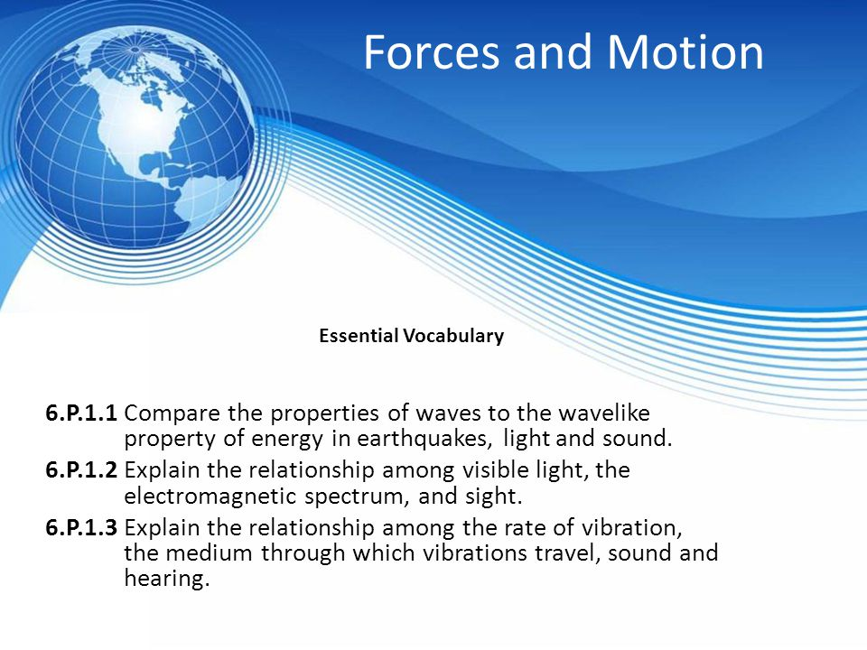 Forces and Motion Essential Vocabulary.