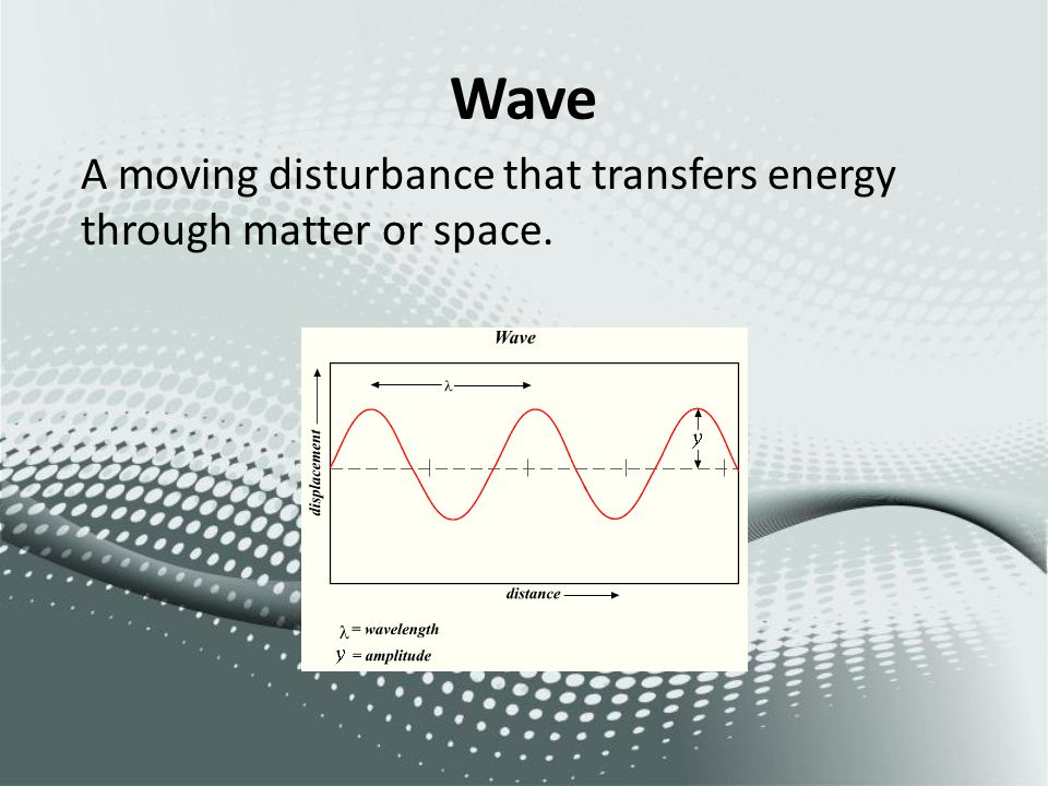 Wave A moving disturbance that transfers energy through matter or space.
