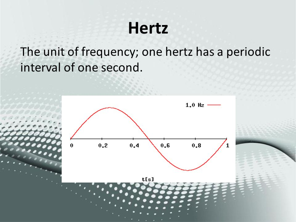 Hertz The unit of frequency; one hertz has a periodic interval of one second.