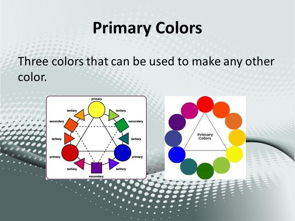Primary Colors Three colors that can be used to make any other color.