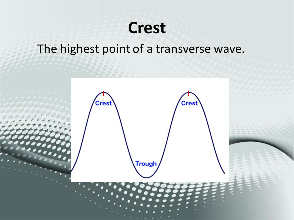 Crest The highest point of a transverse wave.
