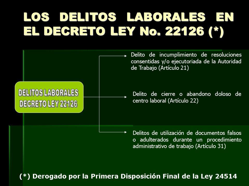 LOS DELITOS LABORALES EN EL DECRETO LEY No. 22126 (*)