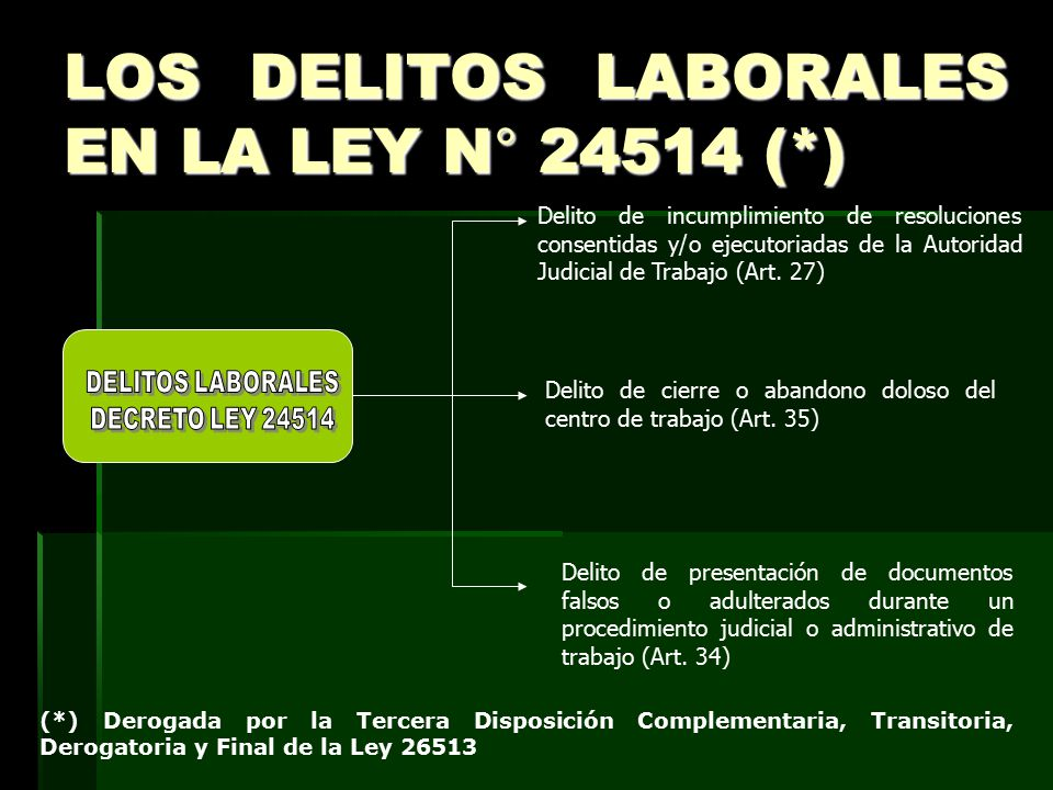 LOS DELITOS LABORALES EN LA LEY N° 24514 (*)