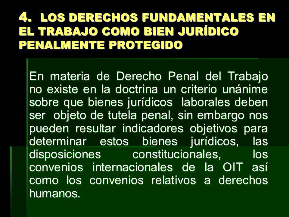 4. LOS DERECHOS FUNDAMENTALES EN EL TRABAJO COMO BIEN JURÍDICO PENALMENTE PROTEGIDO