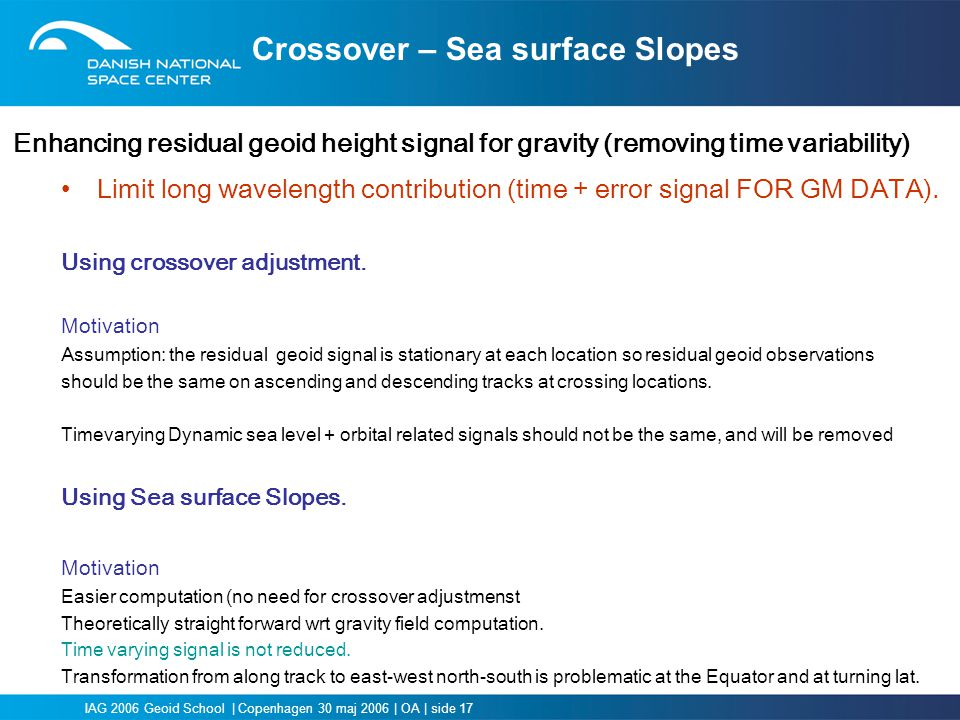 Crossover – Sea surface Slopes