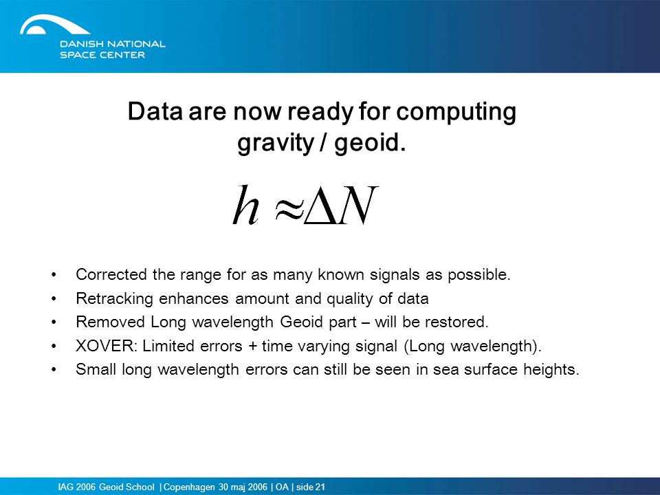Data are now ready for computing gravity / geoid.