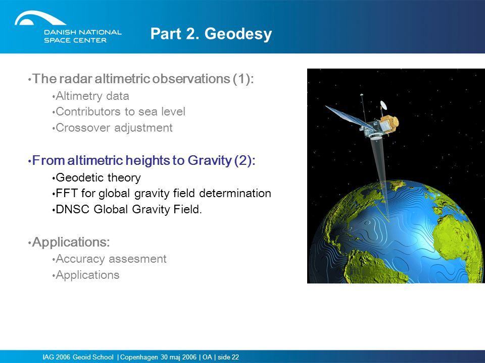 Part 2. Geodesy The radar altimetric observations (1):