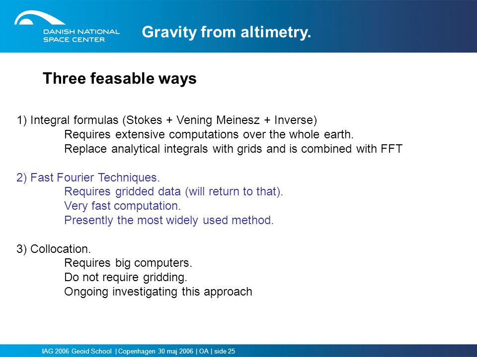 Gravity from altimetry.