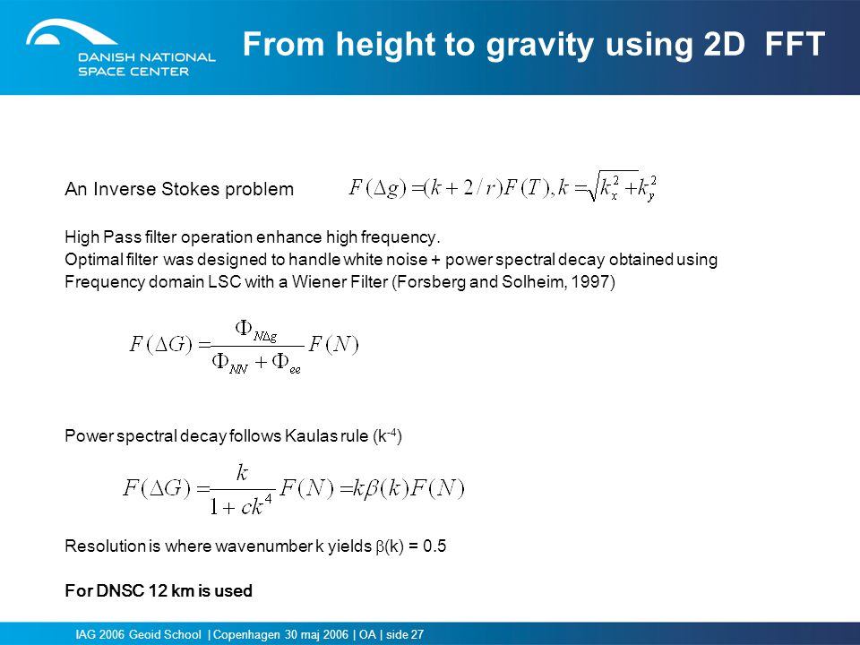 From height to gravity using 2D FFT