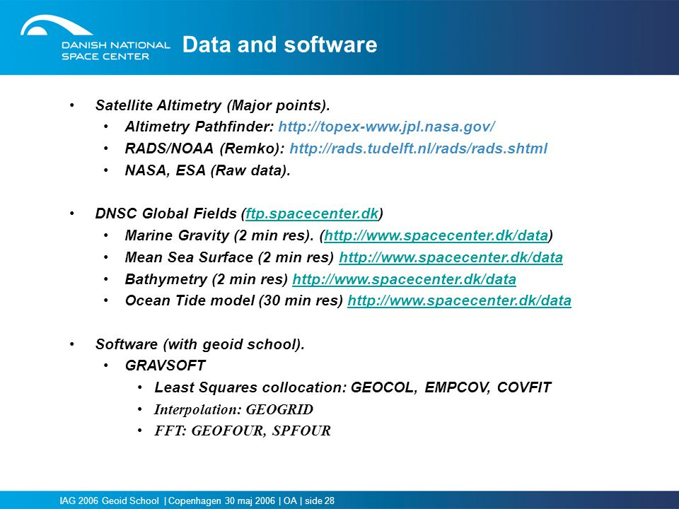Data and software Satellite Altimetry (Major points).