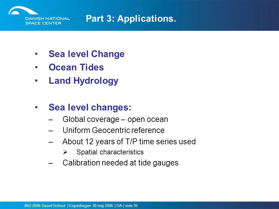 Part 3: Applications. Sea level Change Ocean Tides Land Hydrology