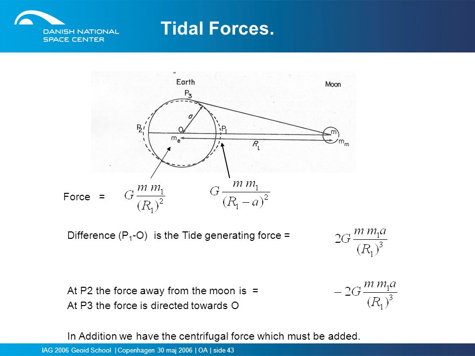 Tidal Forces. Force = Difference (P1-O) is the Tide generating force =