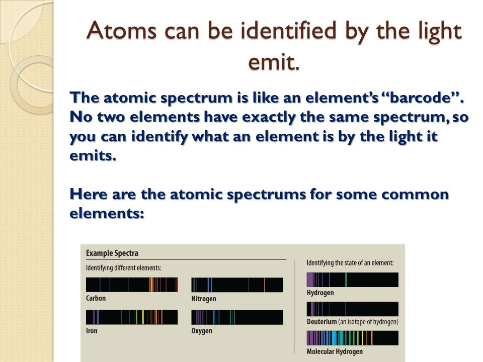Atoms can be identified by the light emit.