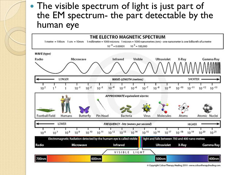 The visible spectrum of light is just part of the EM spectrum- the part detectable by the human eye