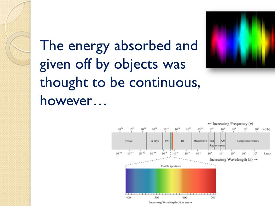 The energy absorbed and given off by objects was thought to be continuous, however…