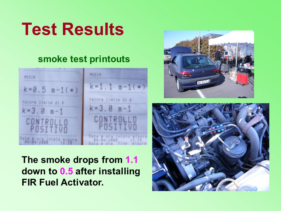 Test Results smoke test printouts