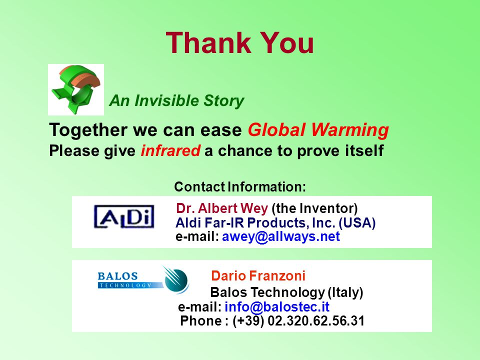 Thank You Dario Franzoni Balos Technology (Italy)