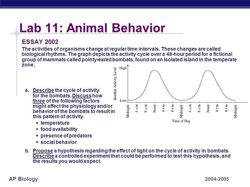 Lab 11: Animal Behavior ESSAY 2002
