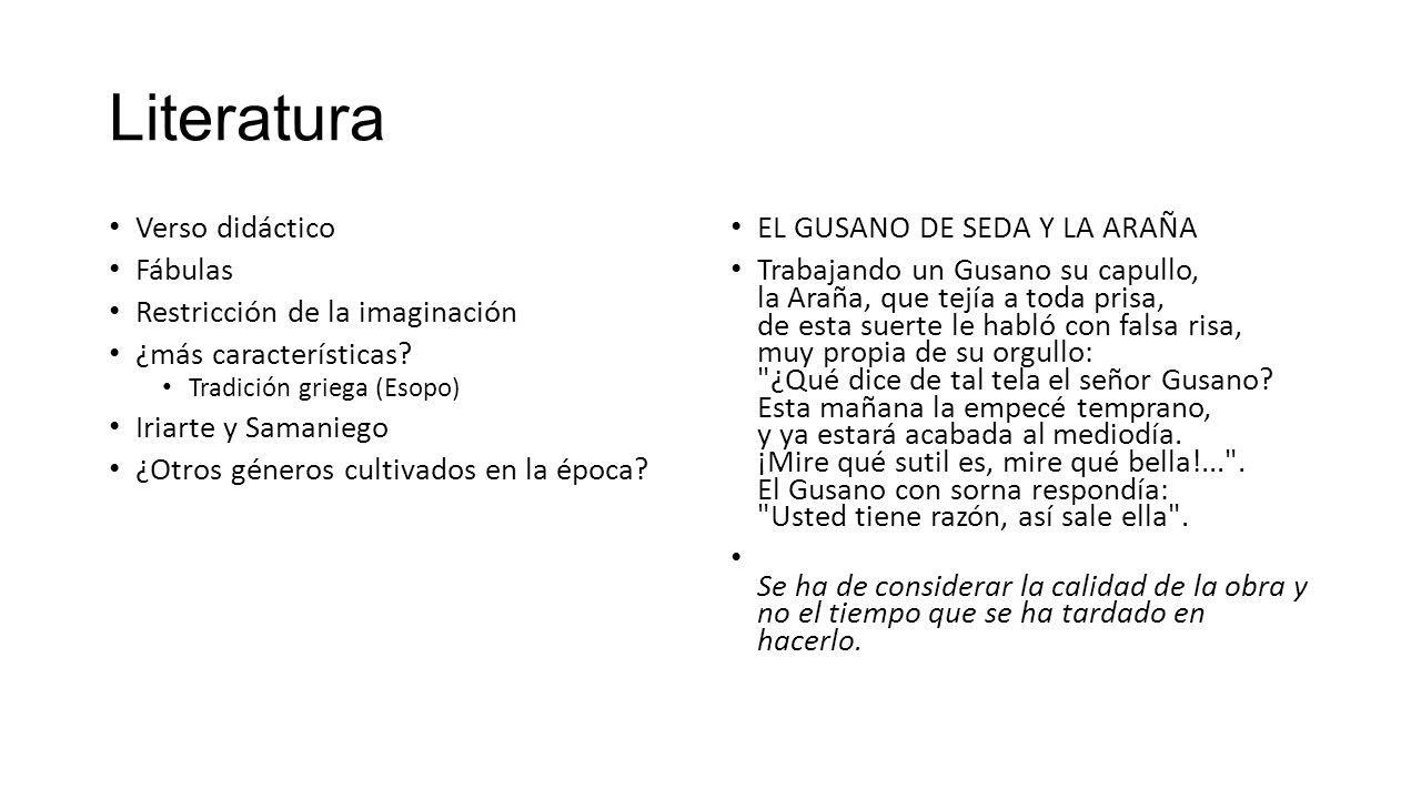 Literatura Verso didáctico Fábulas Restricción de la imaginación