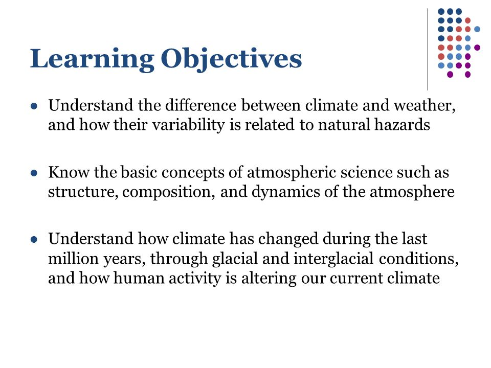 Learning Objectives Understand the difference between climate and weather, and how their variability is related to natural hazards.