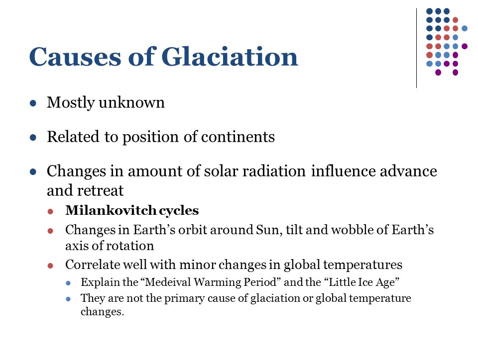 Causes of Glaciation Mostly unknown Related to position of continents