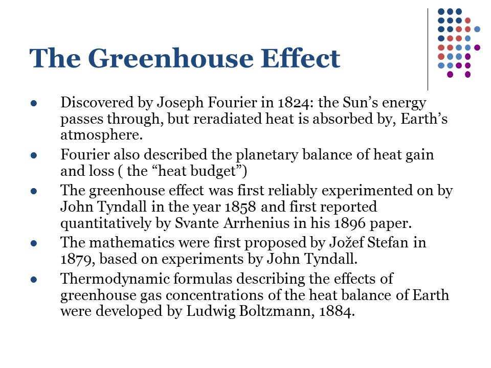 The Greenhouse Effect Discovered by Joseph Fourier in 1824: the Sun's energy passes through, but reradiated heat is absorbed by, Earth's atmosphere.