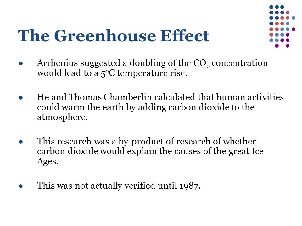 The Greenhouse Effect Arrhenius suggested a doubling of the CO2 concentration would lead to a 5oC temperature rise.