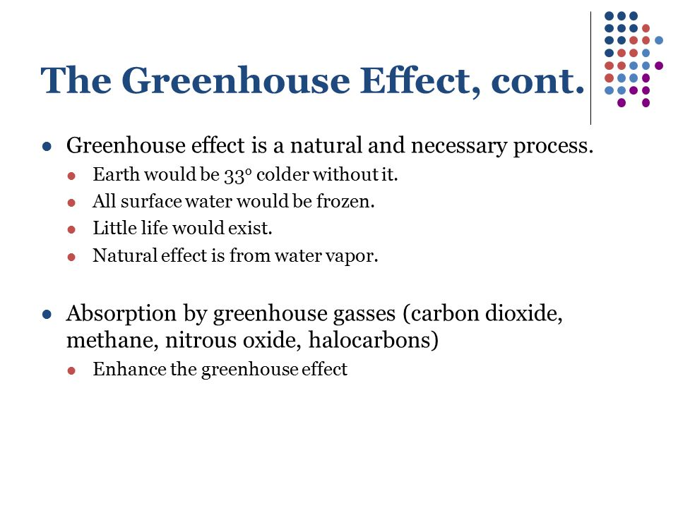 The Greenhouse Effect, cont.