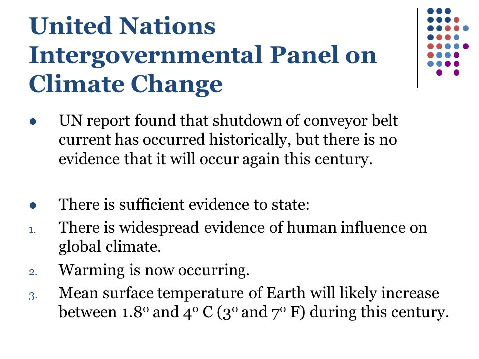 United Nations Intergovernmental Panel on Climate Change