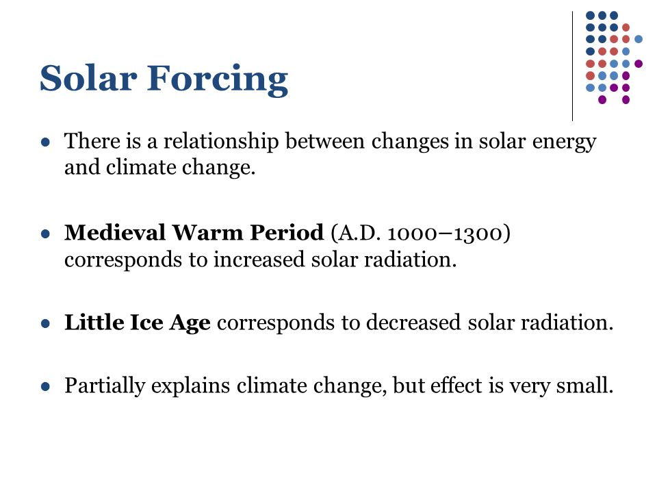 Solar Forcing There is a relationship between changes in solar energy and climate change.