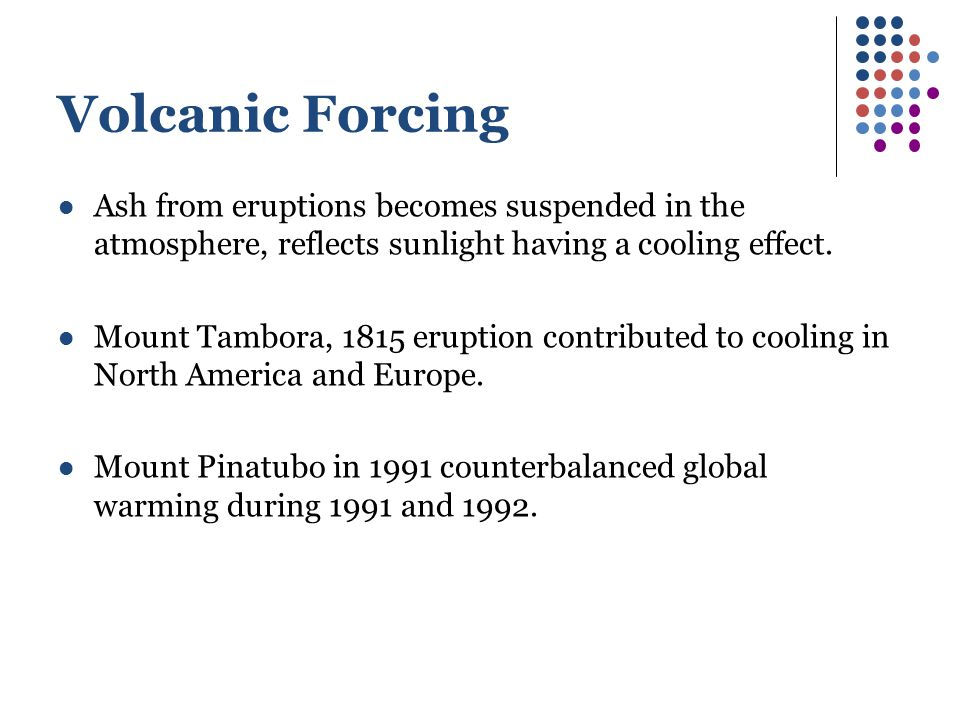 Volcanic Forcing Ash from eruptions becomes suspended in the atmosphere, reflects sunlight having a cooling effect.
