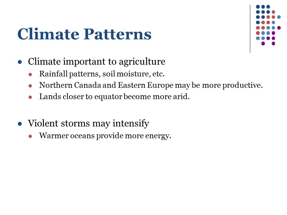 Climate Patterns Climate important to agriculture