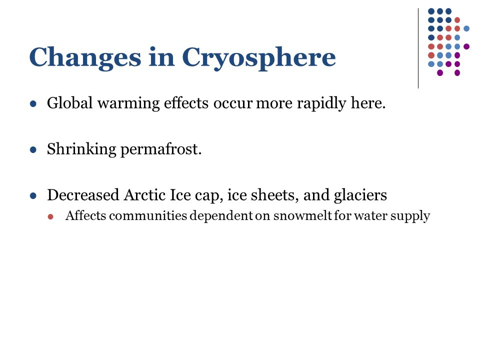 Changes in Cryosphere Global warming effects occur more rapidly here.