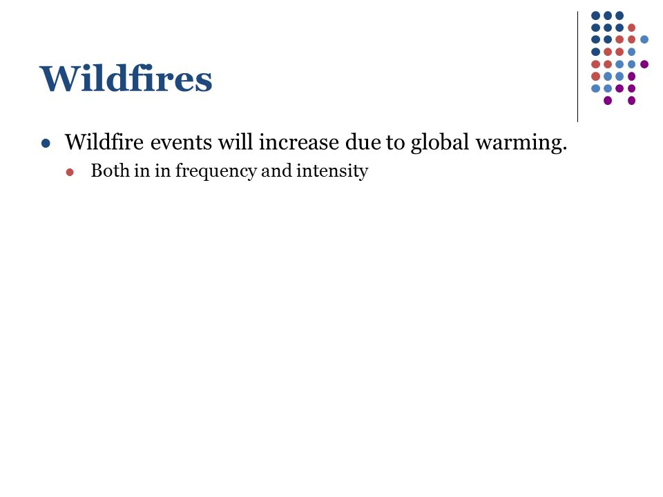 Wildfires Wildfire events will increase due to global warming.