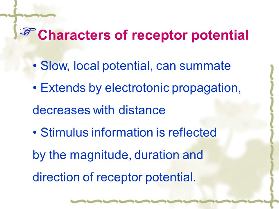 Characters of receptor potential