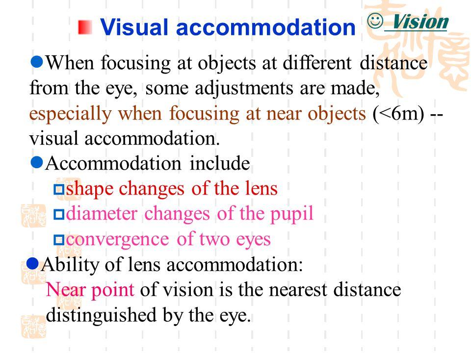 Visual accommodation Vision