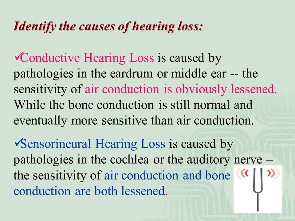 Identify the causes of hearing loss: