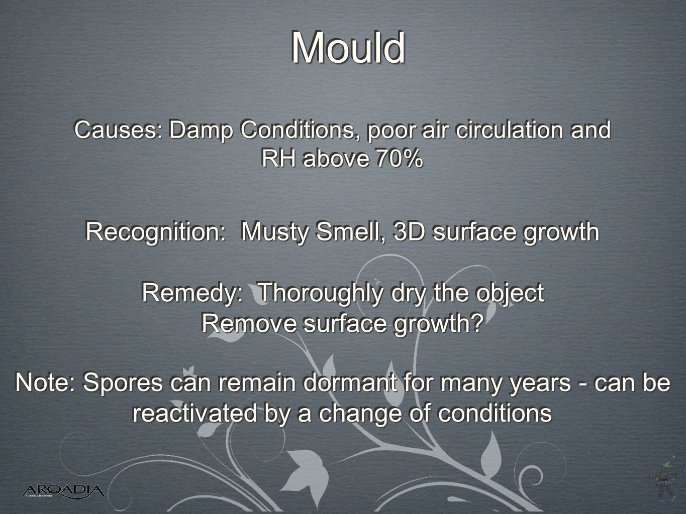 Mould Recognition: Musty Smell, 3D surface growth