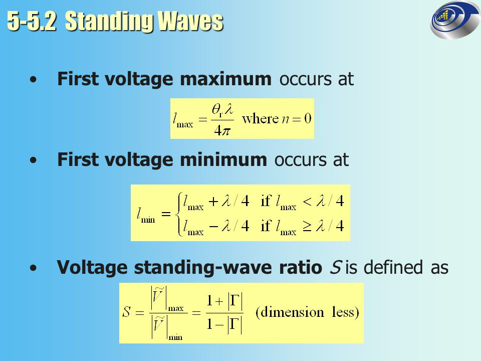 5-5.2 Standing Waves First voltage maximum occurs at
